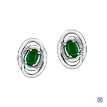 10kt White Gold Diamond & Emerald Earrings