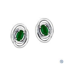 10kt White Gold Diamond & Emerald Earrings