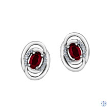 10kt White Gold Diamond & Ruby Earrings