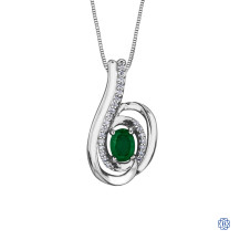 10kt White Gold Diamond & Emerald Necklace