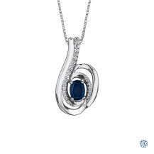 10kt White Gold Diamond & Sapphire Necklace