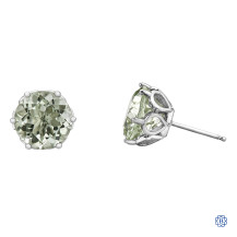 10kt White Gold Green Amethyst Earrings