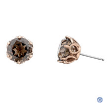 10kt Rose Gold Smokey Quartz Earrings