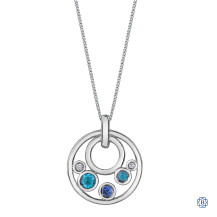 10kt White Gold Blue Topaz, Tanzanite and Diamonds Pendant with Chain