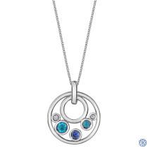 10kt White Gold Blue Topaz, Tanzanite and Diamonds Pendant with Chain