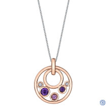 10kt Rose Gold Amethyst, Pink Tourmaline and Diamond Pendant with Chain