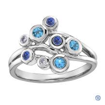 10kt White Gold Blue Topaz, Tanzanite and Diamonds Ring