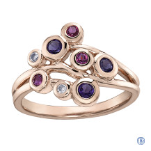 10kt Rose Gold Amethyst, Pink Tourmaline and Diamond Ring