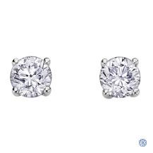 14kt white gold 0.74ct maple leaf diamonds stud earrings