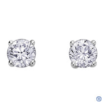 14kt white gold maple leaf diamonds stud earrings