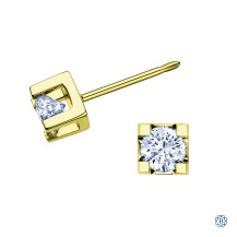 10kt Yellow Gold Canadian Diamond Earrings
