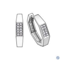 10kt White Gold Diamond Hoop Earrings