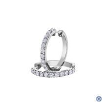 14kt White Gold Lab Created Diamond Hoop Earrings