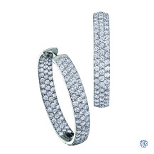 10kt white gold 1.00ct diamond hoop earrings