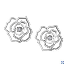 Silver Canadian Diamond Flower Earrings