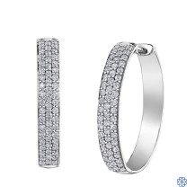 10kt white gold diamond hoop earrings