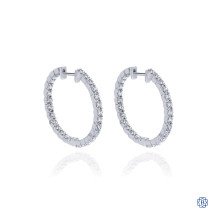 Gabriel & Co. 14kt White Gold Diamond Hoop Screwback Earrings
