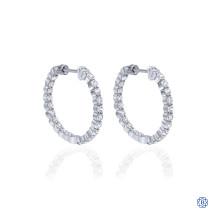 Gabriel & Co. 14kt White Gold Diamond Hoop Screwback Earrings