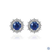 Gabriel & Co. 14kt White Gold Sapphire Diamond Stud Earrings