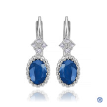 Gabriel & Co. 14kt White Gold Sapphire Diamond Drop Earrings