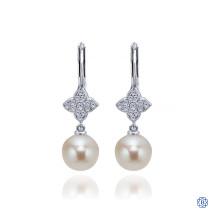 Gabriel & Co. 14kt White Gold Diamond Pearl Earrings