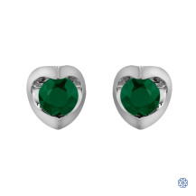 10kt White Gold Emerald Stud Earrings