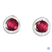 10kt White Gold Ruby Stud Earrings