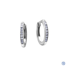 10kt White Gold 0.10ct Channel Set Diamond Hoop Earrings