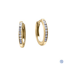 10kt Yellow Gold 0.10ct Channel Set Diamond Hoop Earrings