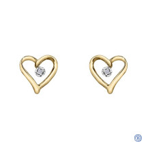 10kt Yellow Gold Solitaire Diamond Heart Earrings