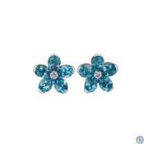 10kt White Gold Blue Topaz Pear-Shape Flower Diamond Earrings