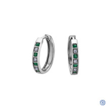 10kt White Gold Emerald and Diamond Hoop Earrings