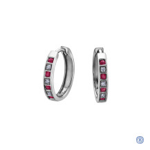 10kt White Gold Ruby and Diamond Hoop Earrings
