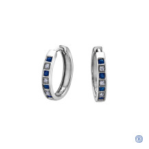 10kt White Gold Sapphire and Diamond Hoop Earrings
