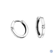 10kt White Gold 0.04ct Solitaire Diamond Hoop Earrings