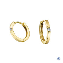 10kt Yellow Gold 0.04ct Solitaire Diamond Hoop Earrings