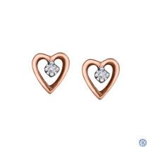 10kt Rose Gold 0.02ct Solitaire Diamond Heart Earrings