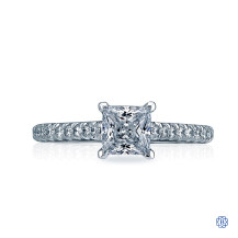 Tacori 18kt White Gold Petite Crescent Solitaire Engagement Ring with 0.59ct Princess Cut Diamond