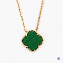 18kt Yellow Gold Malachite Clover Necklace