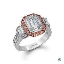 Simon G 18kt White and Rose Gold Diamond Engagement Ring