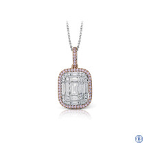 Simon G 18kt white and rose gold diamond Pendant with chain
