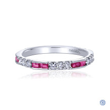 Gabriel & Co. 14kt White Gold Ruby Diamond Stackable Ring