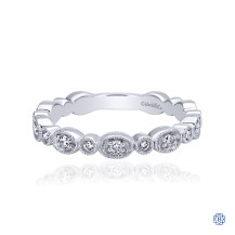 Gabriel & Co. 14K White Gold Graduating Station Diamond Stackable Ring