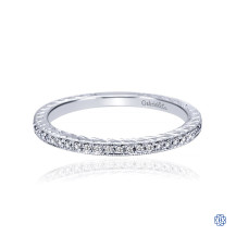 Gabriel & Co. 14K White Gold Hand Carved Stackable Diamond Ring