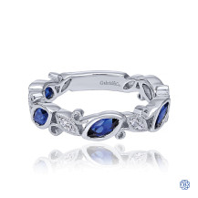 Gabriel & Co. 14K White Gold Marquise Station Sapphire and Diamond Ring