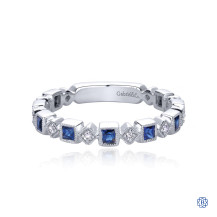 Gabriel & Co. 14kt White Gold Sapphire Diamond Stackable Ring
