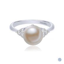 Gabriel & Co. 14kt White Gold Diamond Pearl Ring