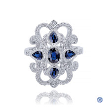 Gabriel & Co. 14kt White Gold Sapphire Diamond Ring