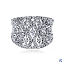 Gabriel & Co. 14K White Gold Intricate Openwork Diamond Wide Band Ring