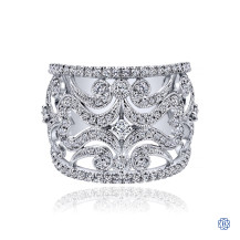 Gabriel & Co. 14K White Gold Openwork Diamond Wide Band Ring